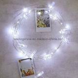 La chaîne de caractères de clip de photo de carte allume les quirlandes électriques de Noël de la batterie 3xaa Wedding la décoration à la maison