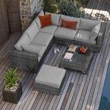 新しいデザイン耐久の黒い屋外の庭台地の家具の藤のアルミニウム角のソファーセット