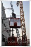 Grua dobro do elevador da construção da cremalheira e do pinhão da cabine de Gaoli Scq200
