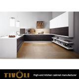 Gabinetes de cozinha pretos pretos esplêndidos com lustro elevado Finishe da pintura e projeto folheado Tivo-0148h