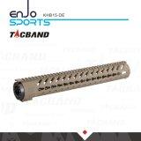 Tacband Kohlenstoff-Faser-Zusammensetzung- (CFC)freier Gleitbetrieb Keymod 15 Spitzenschiene Tan der Zoll Handguard Schienen-W/Picatinny
