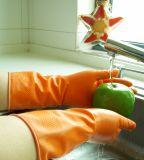 Jardín de trabajo de trabajo negro látex guantes impermeables con SGS aprobado