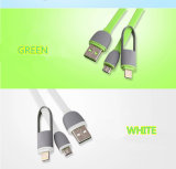 Le dernier câble USB rechargeable de données colorées de 2 sur 1 pratique avec un design spécial pour tous les téléphones portables