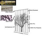 Cortina de chuveiro elegante branca preta da árvore do poliéster melhor