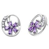 Ожерелья 3 чокеровщика серьги кольца цветка Zircon способа ювелирные изделия PCS медного пурпурового кристаллический установленные