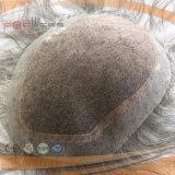 100%の人間の灰色の毛の一等級の完全なHandtiedの多端のレースの前部メンズToupee (PPG-l-908)