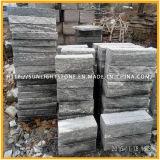 Mattonelle di pavimentazione nere/grige di superficie Polished/fiammeggiate/antiche del granito della vena