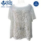 Weiße kurze Hülsen-Perspektive-Spitze-reizvolle Form-Dame-Bluse