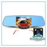 5.0 carro Dvrs do espelho de Rearview da polegada FHD 1080P com lente dupla