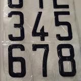 Azul de epoxy adhesivo de encargo 73m m de la etiqueta engomada de la carta del número