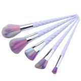 conjunto de cepillo profesional del maquillaje del unicornio blanco de la maneta 5PCS