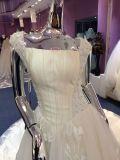 2017 eine Zeile, die Satin-Kathedrale-Hochzeits-Kleid mit Schlüsselloch-Rückseite bördelt