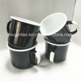 Enamelware 컵을 인쇄하는 야영 컵 차잔 취사 도구 백색 손잡이