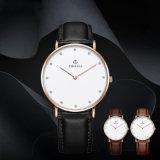 Edelstahl-Uhr mit lederner Brücke, Form-Uhr, Spitzengeschenk-Uhr 72315