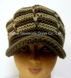 Mode tricotant à la main le chapeau de Beanie de chapeau avec Bill (Hjb032)