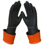 Gants fonctionnants d'alcali de sécurité du travail en caoutchouc acide de résistance