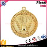 Médailles gravées en relief rondes de badminton en métal d'or bon marché de qualité