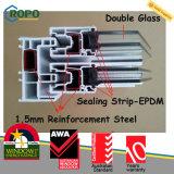 PVC UPVCはグリルデザインのスライディングウインドウに二重ガラスをはめた