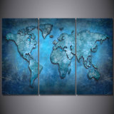 يطبع زرقاء تجريديّ خريطة [بينتينغ كنفس] [برينت رووم] زخرفة طبعة ملصقة صورة نوع خيش [مك-061]
