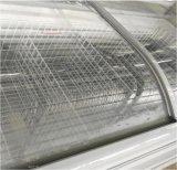 Congelatore in profondità unito di vetro curvo senza coperchio dell'isola del portello per il gelato