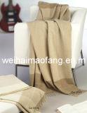 100%の純粋なカシミヤ織によって縁を付けられる投球毛布