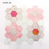 육각형 분홍색 꽃 패턴 착색한 무지개 빛깔 유리제 결정은 모자이크를 타일을 붙인다