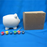Pintar banco de moeda ajustado do porco, animal da pintura DIY da criança cerâmico