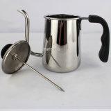 Edelstahl-Kaffee-Potenziometer mit schwarzem Griff