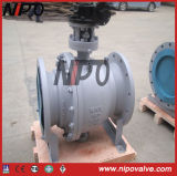 GearのAPI 6D Cast Steel Flanged Trunnion Ball Valve