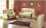 木の家具の本革のソファーの黒