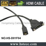 Мужчина высокого качества HDMI к женскому кабелю держателя панели кабеля