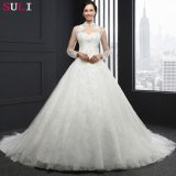 Vestido de casamento Backless da garganta elevada longa da luva (Q-021)
