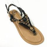 Sandalias planas de la mujer bohemia de la flor del Rhinestone de la perla de la manera