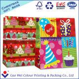 Bolso de compras blanco del bolso del regalo de la bolsa de papel de Kraft de la Feliz Navidad