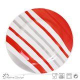 lignes rouges de jeu de dîner 20PCS et grises peintes à la main