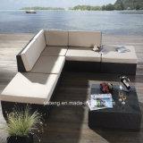 安い屋外のPEの藤の家具の庭の総合的な藤のCornorのソファー