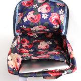 Estilo coreano floral impermeable de PVC Mochila de lona Notebook bolso de escuela