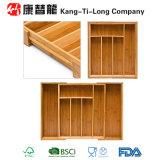 Organizador de bambu da gaveta da cesta da bandeja da cutelaria