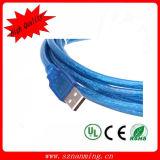USB transparente do azul 2.0 um macho ao cabo fêmea do USB