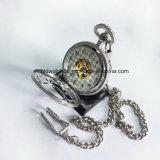 Flor en forma de esqueleto reloj de bolsillo mecánico de aleación