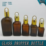 Горячая продавая квадратная янтарная стеклянная бутылка капельницы эфирного масла