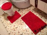 Stuoia stabilita del pavimento della stanza da bagno del poliestere 3PCS della stuoia di bagno del Chenille di Microfiber