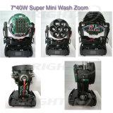 Luz principal movente da mini lavagem 7*40W super com zoom