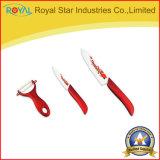 Couteau de cuisine réglé en céramique de fruit/de couteau d'épluchage avec la gaine avec Peeler