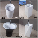 Lavabo en pierre artificiel de petite taille de salle de bains de piédestal