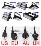 Ue di alluminio dell'alloggiamento della buona aletta modulare di prezzi del fornitore della Cina noi indicatore luminoso di inondazione del Regno Unito 200W LED dell'Au con la spina