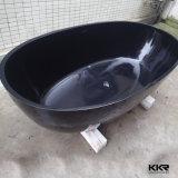 Bañera superficial sólida del cuarto de baño de la piedra brillante negra de la resina