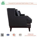 Móveis modernos Mobiliário de sala de estar Sofá de couro preto de 3 lugares