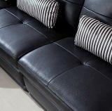 Wohnzimmer-echtes schwarzes Leder Sofa&#160 des Italiener-1+2+3; S-2026