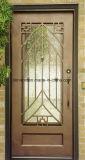 Входная дверь квадратной верхней изготовленный на заказ ковки чугуна обеспеченностью одиночная